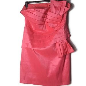Snap Strapless Bright Pink Party Dress